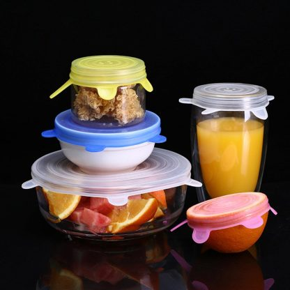 6-piece Reusable Food Silicone Lids Stretch Preservation Lid Stretch Lid Bowl Lid Vacuum Lid Sealed Film
