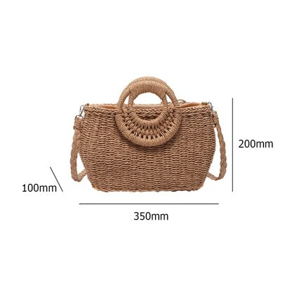 Handmade Woven Round Women Shoulder Bag Bohemian Summer Straw Beach Handbag for Travel Shopping Female Tote Rattan Wicker Purse